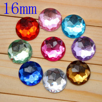 16MM 100pcs/lot Colorful Round Acrylic Rhinestone Buttons Decoration Garment Accessory Freeshipping PJB17