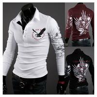 FREE SHIPPING Men's Slim Long sleeve Casual POLO Shirt T-shirts Fashion 3-color Printing Tatto