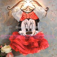 2014 latest cartoon brand design girl dress summer children suit Lovely baby Minnie mouse glass gauze dress kids princess dress