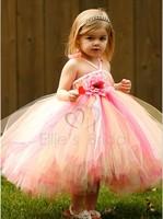 Bohemia girl dress princess wedding Luxury Flowers Suspenders Rainbow Wedding Vest For Flower Fairy Children clothing C40-27