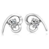 Valentine's Day Gift Silver Plated Heart Cubic Zirconia Basket Stud Earrings Made With Australia Crystal For Women