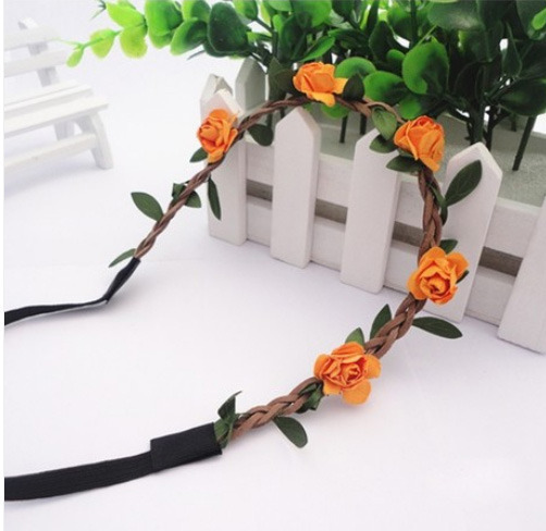 Min. order is $7(can mix different goods) JLM's New Nice Orange Five Rose Flower Women Hair Hand Jewelry Ribbon Hairband(China (Mainland))