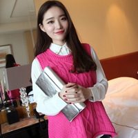 YOMSONG 2014 New Fashion Women's Solid Color Loose Knit Sweater Vest Cannabis Vest Sleeveless Sweater 4 Color