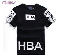 HBA hood by air  print 2014 summer men's short sleeve shirt fashion Round neck t-shirt cotton casual tshirt hiphop tshirt 51