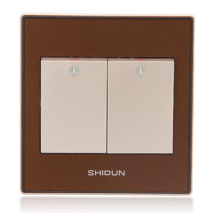 Painel de envio gratuito de tomada interruptor 86 A71621 champanhe ouro e prata cristal acrílico 2 opne controle único interruptor de luz de parede(China (Mainland))