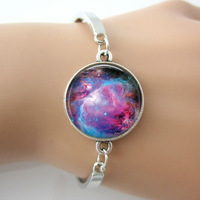 Nebula galaxy space bracelets bangles gift idea multi color charm bangles top quality silver plated metal bangle 5 pcs free ship