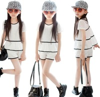 Hot sale girl summer set fashion chiffon lace spliced tops+shorts 2pcs girl clothing set children casual set kids summer suit