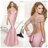 FCD29 Tarik Ediz Sexy Pink Blue Backless Pearls Mermaid Red Carpet Evening Dresses
