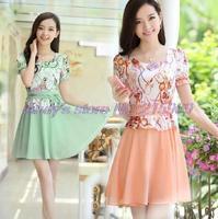 With belt plus size Printed chiffon dress 2014 new summer big yards short sleeve lace chiffon dress Slim Printed women dresses
