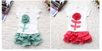 2PC New baby girls T shirt+skirt Set Clothes cute flower clothes