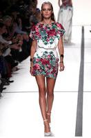 2014 New Celeb Style Fashion Women Dress Lower Hem Floral Printing Dress Long Sleeve Loose Slim Dress Mini dress AY655077