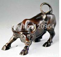 Tibetan crafts gift Copper Bronze exquisite Chinese Brass Small Wall Street Bronze Fierce Bull OX Statue Statue
