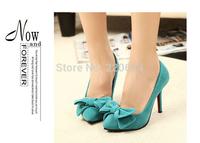 Summer 10 cm vintage green black Pumps High heeled Platform Party Wedding Suede Bow shoes2699