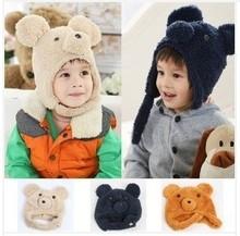 2014  Korean   Autumn / Winter  Cap  Double  Comfortable   Soft  Nap  Lovely  Bear  Children  Ear  Protection  Cap  5  Colors(China (Mainland))