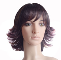 12 inch  101G  High Temperature Wire Synthetic Hair Wigs #FS4-27  Short Curly  Front Lace Wig Womens Girls  Wigs