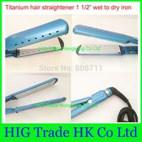 High quality  hair straightener irons 1 1/2  Nano titanium 1.5 inch Flat Iron thinnest blue pro nano titanium plates 110V  220V