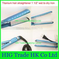 Promotion New hair straightener irons 1 1/2  Nano titanium 1.5 inch Flat Iron thinnest blue pro nano titanium plates #B299