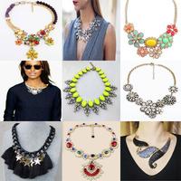2014 Luxury Fashion Brand Crystal Leaves Resin Vintage Choker Jewelry Chunky Bib Bubble Statement Necklaces & Pendants Women