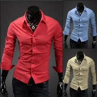 Free Shipping  Mens Slim fit Unique neckline stylish Dress long Sleeve Shirts Mens dress shirts