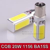2pcs/lot White led COB 20w High Power P21W 1156 ba15s S25 LED Interior Fog Brake Parking backup Bulb Light Lamp