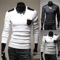 Free shipping! The new men's fashion casual long-sleeved T-shirt pocket decoration