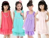 2014 Summer New Kids' Clothes Children's Necklace chiffon  Dresses Girls Princess Dresses Retail CZ-6028