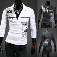 Free shipping! 2014 new fashion men's long-sleeved T-shirt Slim lapel personalized printing