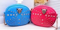 New Stylish Sachet PUNK Fashion Tassel Rivet Women Messenger Bag Shoulder Bags Leopard Chain Small Studded Handbag Crossbody