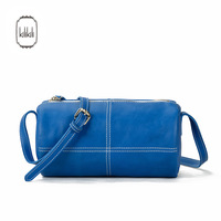 Kilikili fashion sewing thread blue genuine leather patchwork women's handbag solid color small one shoulder cross-body bag