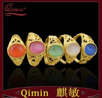 2013 New style five kinds of color ring colourful zircon rings holllow out 24K gold plated rings