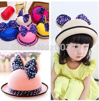 Симпатичные цветочные Muliticolor Dot BowknotCap новорожденных девочек шапки шляпы лета младенца Cap 7 цвета бесплатная доставка