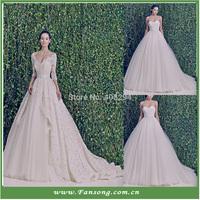 FS-20140341 Sweetheart Three Quarter A-line Lace and Organza Zuhair Murad Wedding Dress
