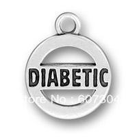 free ship 15pcs a lot antique silver diabetic charms jewelry
