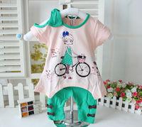 2014 summer baby clothing Children's clothing female child  set girl set short-sleeve twinset