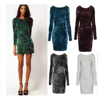 2014 new winter original ChanZhengPin luxury package hip long-sleeved sequins cultivate one's morality dress night dress