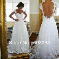 DH31 Wholesale Cheap 2015 White A Line Scoop Neckline Backless Lace Wedding Dresses Bridal Gowns Online Shop
