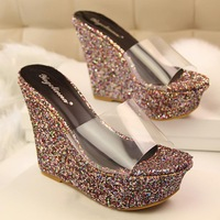 2014 cover heel open toe women shoes han edition summer new transparent slippers, fashionable wedge thick soles sequins slippers