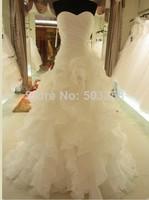 FCD22  2014 Fashion Celebrity Strapless White/Ivory Tulle Silk Organza Vera Wedding Dress Bridal Ball Gown