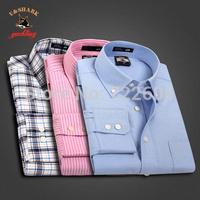 2014 New Fashion Business shirt la Casual shirt Tartan shirt mens U&Shark Brand dress shirt 100%cotton plaid shirt plus size
