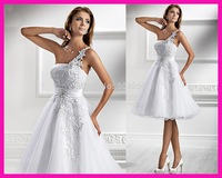 FCD14  fashionable best appliqued Water soluble lace one shoulder princess 2014 short wedding dress