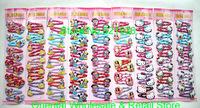 120 pcs/lot Cartoon Mickey&Minnie Mouse/ Hello kitty / Dora / Princess/ Barbie 5 Designs  Girl Hair Accessories Hairpin clips