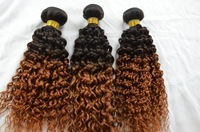 kinky curly ombre human brazilian hair weave two tone virgin remy human hair body wave extensions