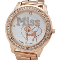 2014, Miss New Create Fashion Women Watch, Geneva Steel Strip  Rose gold Watch, Free Shipping