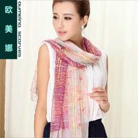 Oumeina Fashion and Muslim Women's  silk  long  scarf   100%  silk  fabric Golden Shadow flow shuttle 172CM X 55CM   LJD-S044