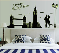 Free shipping!! ABQ9603 new 2014 novelty households London wall sticker glow in the dark decorative wallpaper adhesive