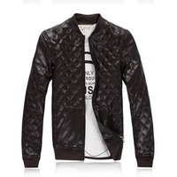 Holiday sale 2013 new fashion splice man's pu leather jackets men motorcycle jacket (Outdoor Men's Stormbound Garment)