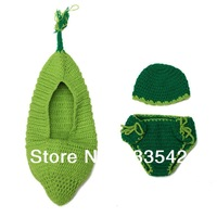 Green Bean Pod bunting sleeping bag sack Handmade Infant Hat Newborn Baby Crochet Beanie Toddler Props Photography Cover Costume