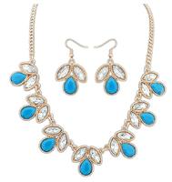 Hot Luxury geometric imitation gem flower pendants alloy short necklace & earrings set for women 2014 jewelry sets Free shipping