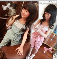 2014 New  kids clothing set, vest dress +short pants Polka dot 2pcs set ,  summer children set, girl clothing set