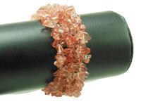cherry quartz gem stone chip bead bracelet bangle stretched WBB036
